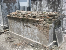 A delapidated tomb.